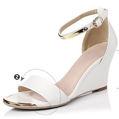 Frauen 039 s Sandalen Komfort PU Sommer Casual Comfort Schwarz Weiß 4-in-4 3 4 inWhiteUS 8 EU 39 UK 6 CN 39