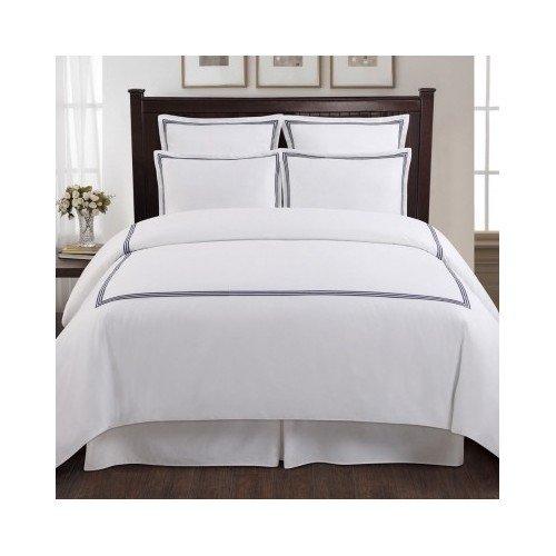 Modern Blue Brown Grey White Duvet Bedding Set with Shams In