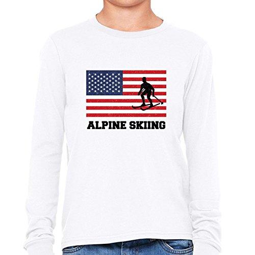 Hollywood Thread USA Olympic - Alpine Skiing - Flag - Silhouette Boy's Long Sleeve (Olympics Silhouette)