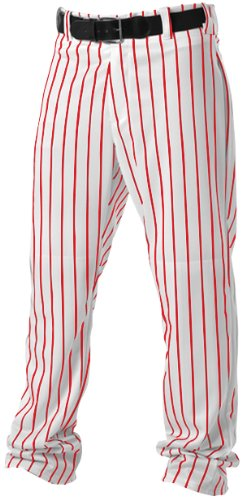 Alleson Athletic Adult Pinstripe Baseball Pants- White/Scarlet, 2X-Large ()