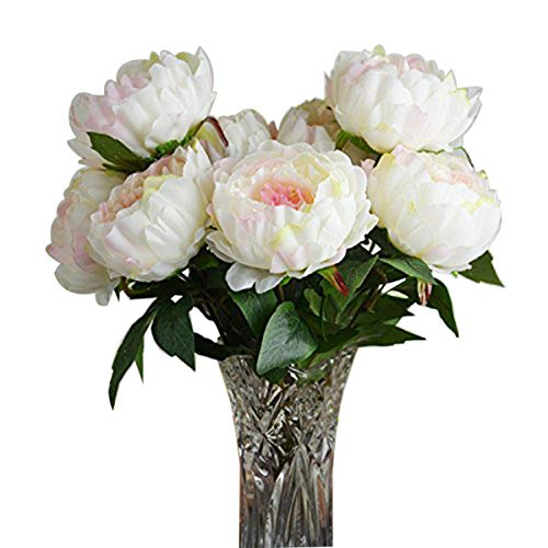 HoveBeaty Pink Peony Artificial Flower Bouquet Home Office Decor Weding Decorations (1 Bunch of 5 Flowers)