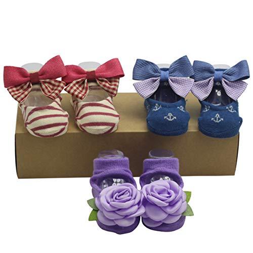 Baby Girl Toddler Walking Socks Infant Boat Shoes Ankle Socks Newborn Gifts (Purple Rose, 12-24 months) ()