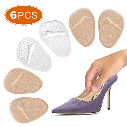 Ball of Foot Cushions, 6PCS Metatarsal Pads for Women, Shoe Inserts with 4D Design and Professional Reusable Silicone Metatarsal Cushion for Neuroma, Bunions and Metatarsal Foot Pain Relief