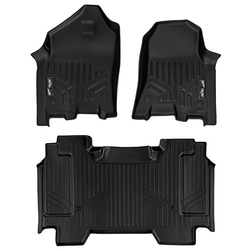 SMARTLINER Floor Mats 2 Row Liner Set Black for 2019 Ram 1500 Crew Cab with 1st Row Captain or Bench Seats