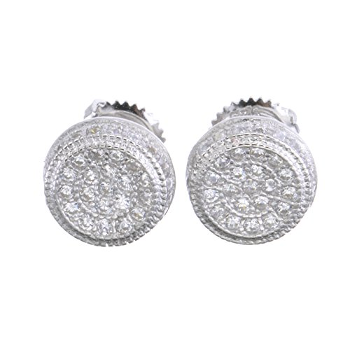 Fashion Luxury Iced Out Micro Pave Silver Round Screw Back Earrings 482 S ()