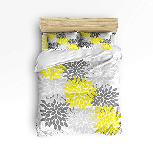Duvet Cover Set Full Size Yellow Light Gray Dahlia, used for sale  Delivered anywhere in Canada