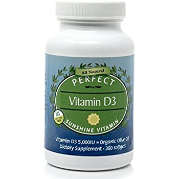 Perfect Vitamin D3 in Organic Olive Oil 5,000 IU, 360 Softgels, Gluten-Free~ by Perfect Supplements