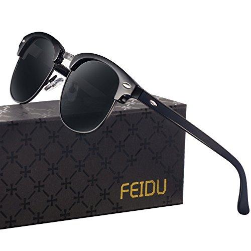 7acdc3aabb FEIDU Retro Polarized Clubmaster Sunglasses for Men Half Metal Women FD3030