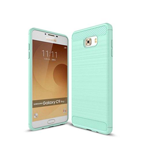 Funda Samsung Galaxy C9,Funda Fibra de carbono Alta Calidad Anti-Rasguño y Resistente Huellas Dactilares Totalmente Protectora Caso de Cuero Cover Case Adecuado para el Samsung Galaxy C9 E