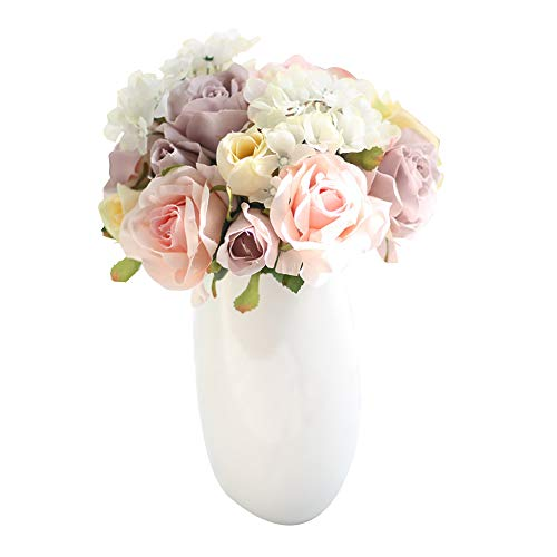Artificial Flowers, Fake Flowers Silk Plastic Artificial Roses and Hydrangea 8 Heads Bridal Wedding Bouquet for Home Garden Party Wedding Decoration -