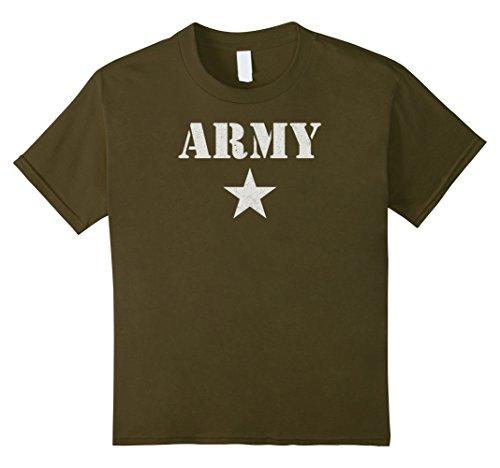 Kids Army Stencil Star Shirt Vintage Workout PT Tee 6 (Kids Workout Costume)