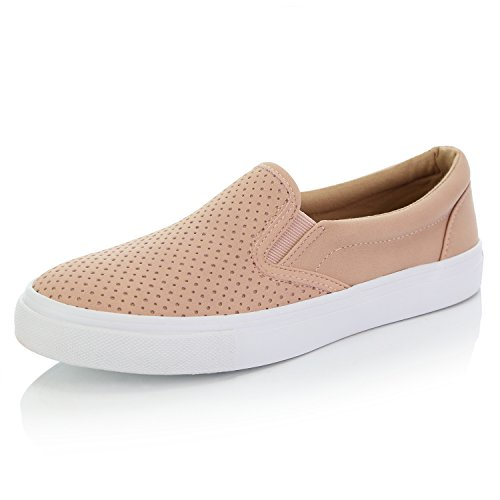 (DailyShoes Unisex Flat Memory Foam fashion sneaker low top slip on shoe loafer classic perforated lightweight unisex Slip On Sneakers Fashion Sneaker Ladies traveling flat sneaker Shoes Unisex Casual Slip-On Loafers Sneakers Shoes Mauve,Pu,8.5)