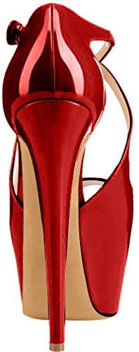 Trusify Mujer 16cm EU tamaño 34-46 Trucrack Tacón de aguja 16CM Sintético Sandalias de vestir Rojo Scarlet