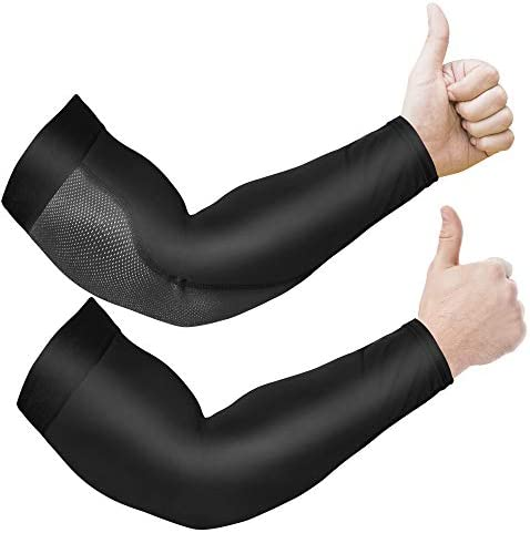 Arm Sleeves for Men and Women, 2pc Anti-Slip UPF 50 UV Sun Protector Arm Sleeve for Women Men, Tattoo Sleeve Covers, Black Arm Sleeves.