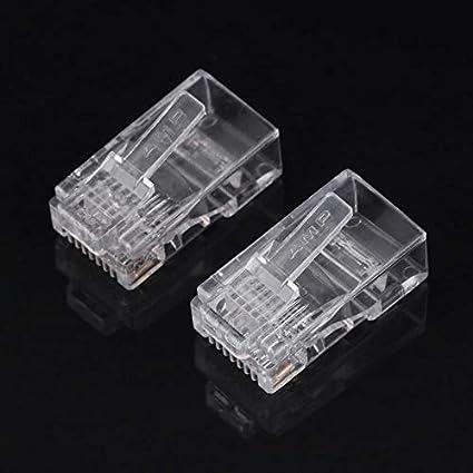 Cable Length: RJ45 Connectors 100 Piece//Packs Cat5 Cat5e Network Internet Connector RJ45 8P8C Cable Modular Plug Heads