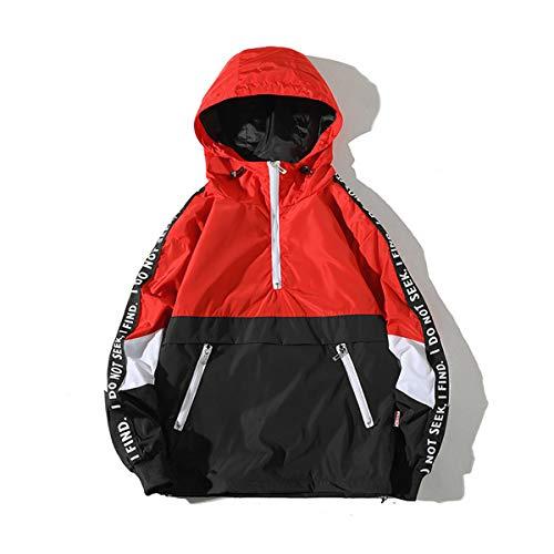 (AITFINEISM Men's Fashion Pullover Hooded Waterproof Lightweight Windbreaker Jacket (Medium, Red))