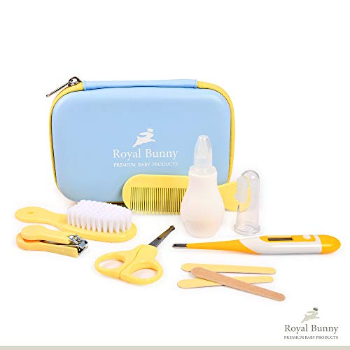 Royal Bunny Baby Grooming Kit | 8-pcs Baby Daily Care Kit for Traveling & Home Use | Baby Manicure Set, Soft Hair Brush & Thermometer | Perfect Baby Shower Gift | Unisex Grooming Kit with Travel Box