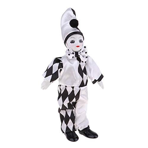 Prettyia 25cm 10inch Funny Porcelain Standing Clown Man Doll in Black & White Costume Home Decor
