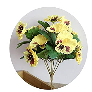1X Bouquet Artificial Simulation Silk Flower Pansy Artificial Plant Wedding Party Home Hotel Table Decoration Yellow