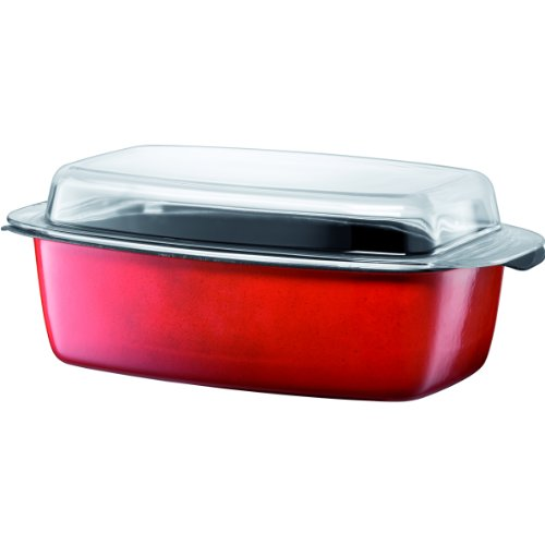 Silit 5-1/2-Quart Gourmet Roasting Pan with Lid, Energy Red by Silit