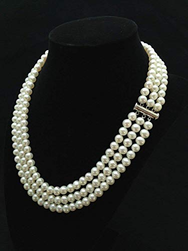 Pearl Necklace Multi Freshwater (Triple Strand Pearl Necklace 7mm - 7.5mm Genuine Cultured Freshwater Pearls (18 Inches))