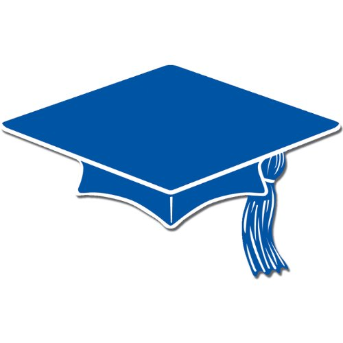 Mini Grad Cap Cutouts (blue)    (10/Pkg)