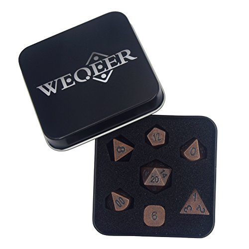 WEQEER RPG Metal Dice Set - 7 Antique Brass Brush (Kit Yu Gi Oh Starter)