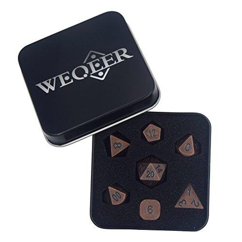 WEQEER RPG Metal Dice Set - 7 Antique Brass Brush Finish Dice with Black Tin