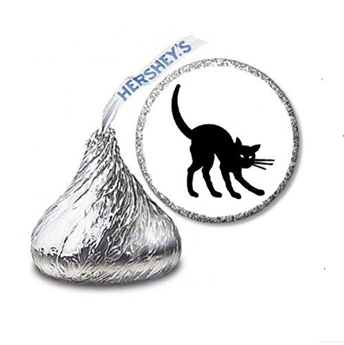 216 Black Cat Halloween Labels/Stickers for Hershey's Kisses Candies - Party Favors by JS&B Enterprises -