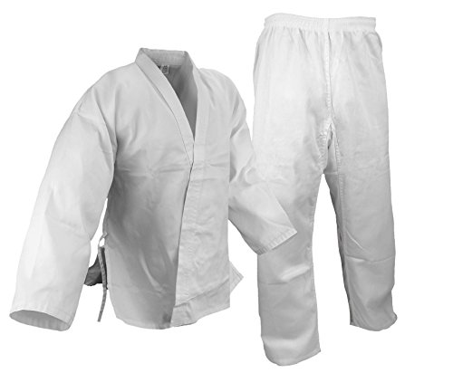 Cotton Blend Belt - PROWIN1 Size 10, Karate 7.5oz White Gi Uniform w/White Belt, Cotton/Poly Blend