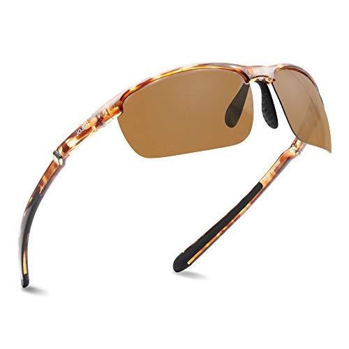 JOJEN Polarized Sports Sunglasses for men women Cycling Running Golf JE002 (Tortoise Shell Frame Brown REVO Lens)