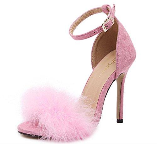 Hauts Xie Américains Femmes À Européens Et Sandales Talons 39 Pink qRBAwqH