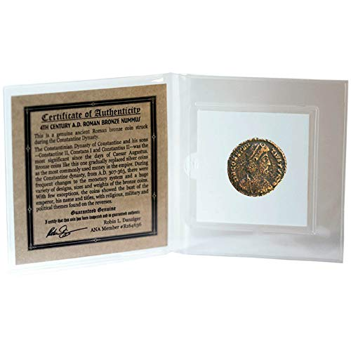 THE DYNASTY OF CONSTANTINE - Genuine Roman Bronze Coin in Mini Folder with Certificate of Authenticity - Authentic Ancient Antique from 307-363 AD honoring one of the four emperors from the Constantine Dynasty