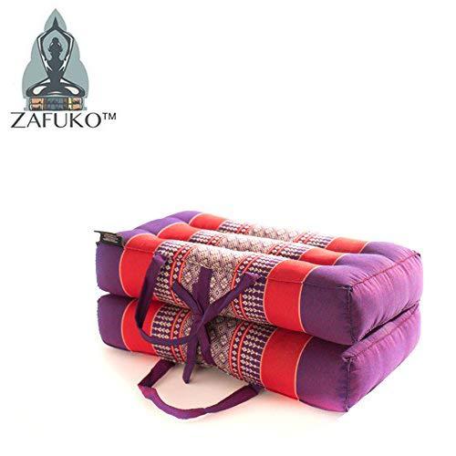 Zafuko Yoga, Meditation, Kundalini and Pilates Foldable Cushion (Zafu) for on-The-go Block, Bolster, Floor Pillow, Prop - 100% Organic Kapok Fiber Filling - Standard/Medium Size (Purple & Red)