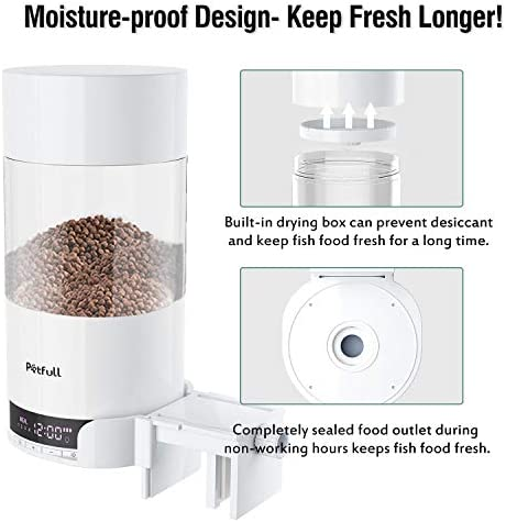 Petfull Automatic Fish Feeder, Rechargeable Smart Fish Food Timer Feeder with Dual Power Supply, Food Dispenser for Fish Aquarium Tank