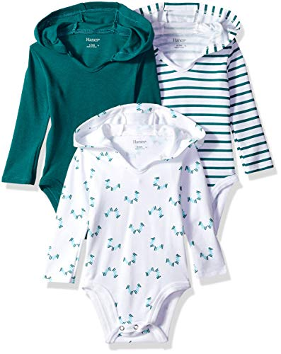 Hanes Ultimate Baby Flexy 3 Pack Hoodie Bodysuits, Greens, 0-6 Months