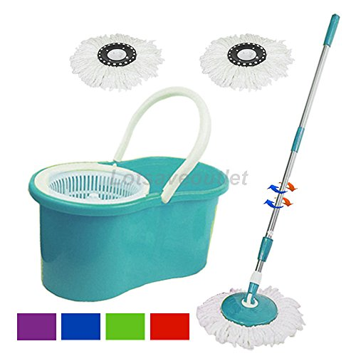 Green 360° Degree Rotating Head Easy Magic Floor Spin Mop Bucket Twist Spinning Dry with 2 Microfiber Mop Head (No Foot Pedal)