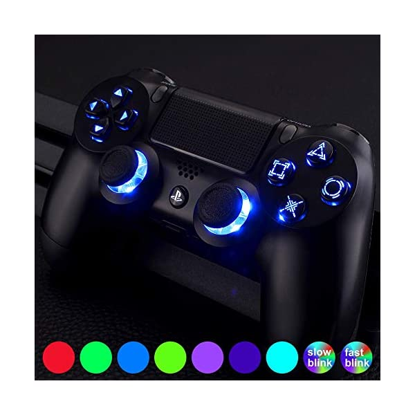 eXtremeRate Multi-Colors Luminated D-pad Thumbsticks Face Buttons (DTF) LED Kit for PS4 Controller 7 Colors 9 Modes… 1