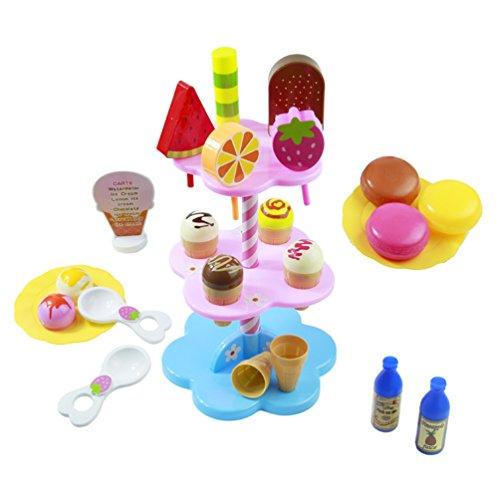 AOSHIJIE 22 PCS DIY Küche Dessert Lebensmittel Spielset Party Pretend Eisständer mit Eis Kinder-Rollenspiele Spielzeug für die Frühe Bildung