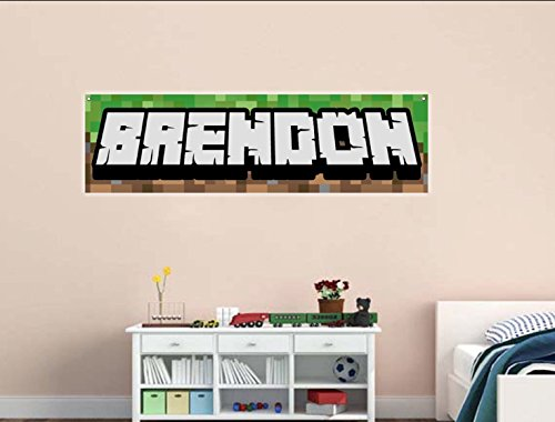 Personalized Gamer Name BANNER 4 Feet Wide - REUSABLE heavy duty banner 3D Looking Pixel Background Gamer Party Decor turns into Room Wall Decor by Word Factory Design