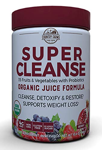 Country Farms Super Cleanse, Organic Super Juice Cleanse, Delicious Drink Powder, 14 Servings (Packaging May Vary)