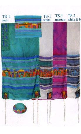 Yair Emanuel Jerusalem Hand painted Silk Tallit Prayer Shawl - White & Blue - Size: 21'' x 77'' by Yair Emanuel