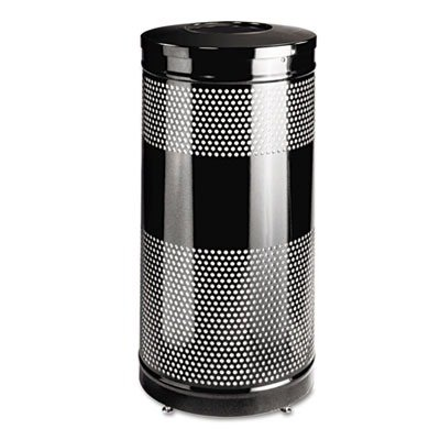 (Rubbermaid Commercial S3ET BK RCPS3ETBK Classics Perforated Open Top Receptacle, Round, Steel, 25 gal,)