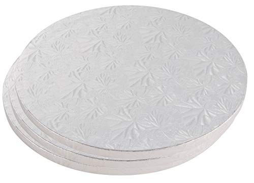 Cake Boards Rounds - 3 Piece Silver Foil Pizza Base Disposable Cake Drums, Corrugated Paper Board, 12 Inches in Diameter (Drum Round)