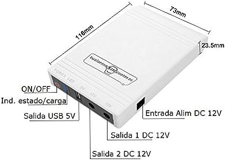 Mini UPS o Mini SAI con batería Interna de Gran Capacidad y Salidas 5V+12V. Válido para routers, cámaras, alarmas, etc