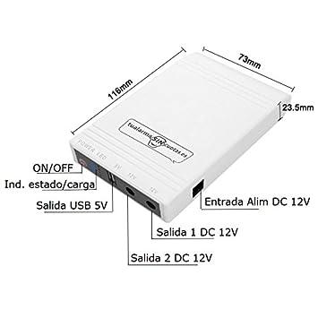 Mini UPS o Mini SAI con batería Interna de Gran Capacidad y Salidas 5V+12V.★★★★★ Válido para routers, cámaras, alarmas, etc ★★★★★