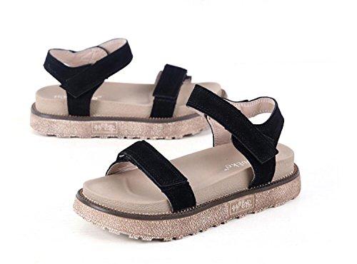 34 Open Pantoufles Femmes Noir DANDANJIE Sandales Tongs Kaki Chaussures 43 Velcro Taille Black et Plat Mode Grande Chaussures D'Été Toe Abricot Talons 8wHwxvp