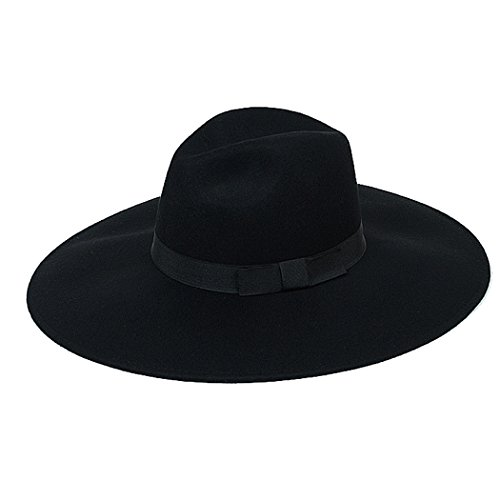 Fedora Hat Women Woolen Bowler Hat Wide Brim Cap Floppy Cloche Church Derby Headress (Felt Fedora Hats)