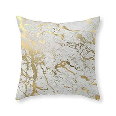 Society6 Gold Marble Throw Pillow Indoor Cover (16  x 16 ) with pillow insert
