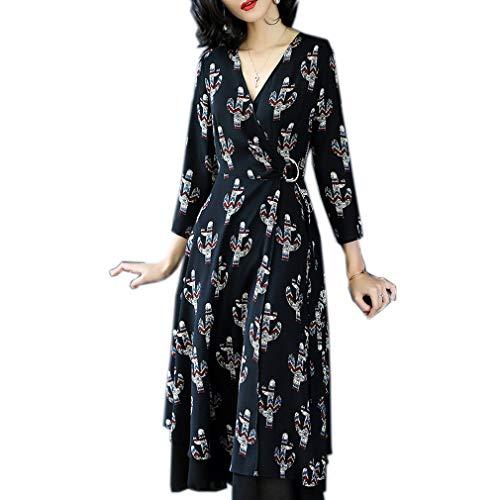 Deep Neck cotyledon Sleeve Printed Womens V line 3 Dress 4 A Dresses qw8UZ8Yg